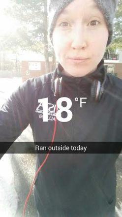 ran outside on mon